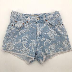 Topshop Moto denim high waist floral shorts w26